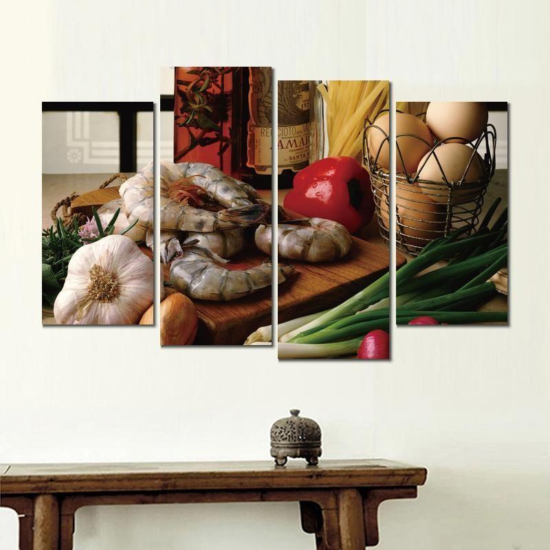 gamberetti ravanelli cipolle erbe 4 pannelli dipinti su tela pittura quadri per soggiorno decorazione murale