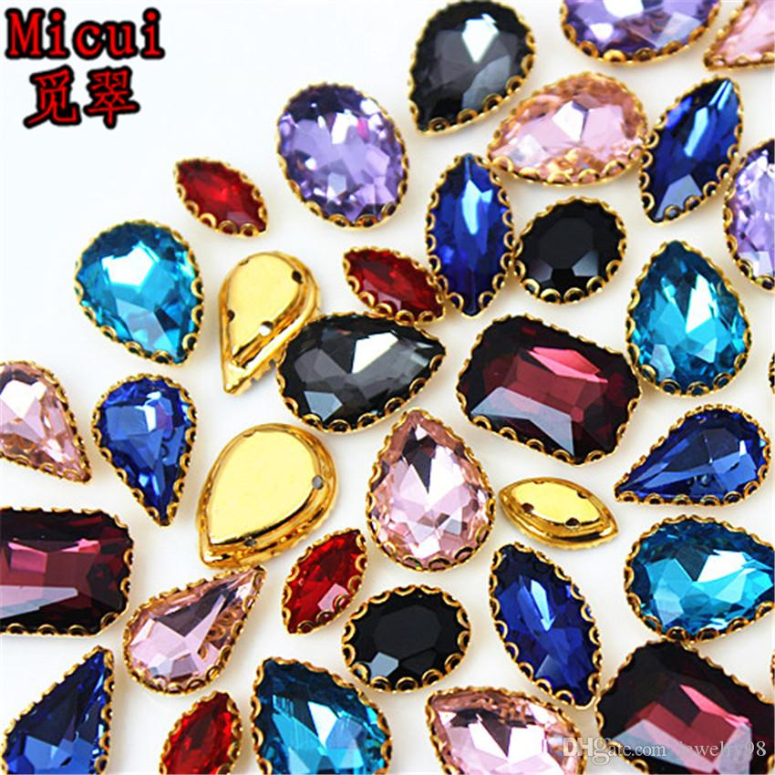 Micui 30PCS mixed shape Glass Sew On with Gold Copper Claw Crystal Sew On Claw Rhinestone Glitter Strass For Clothes ZZ736