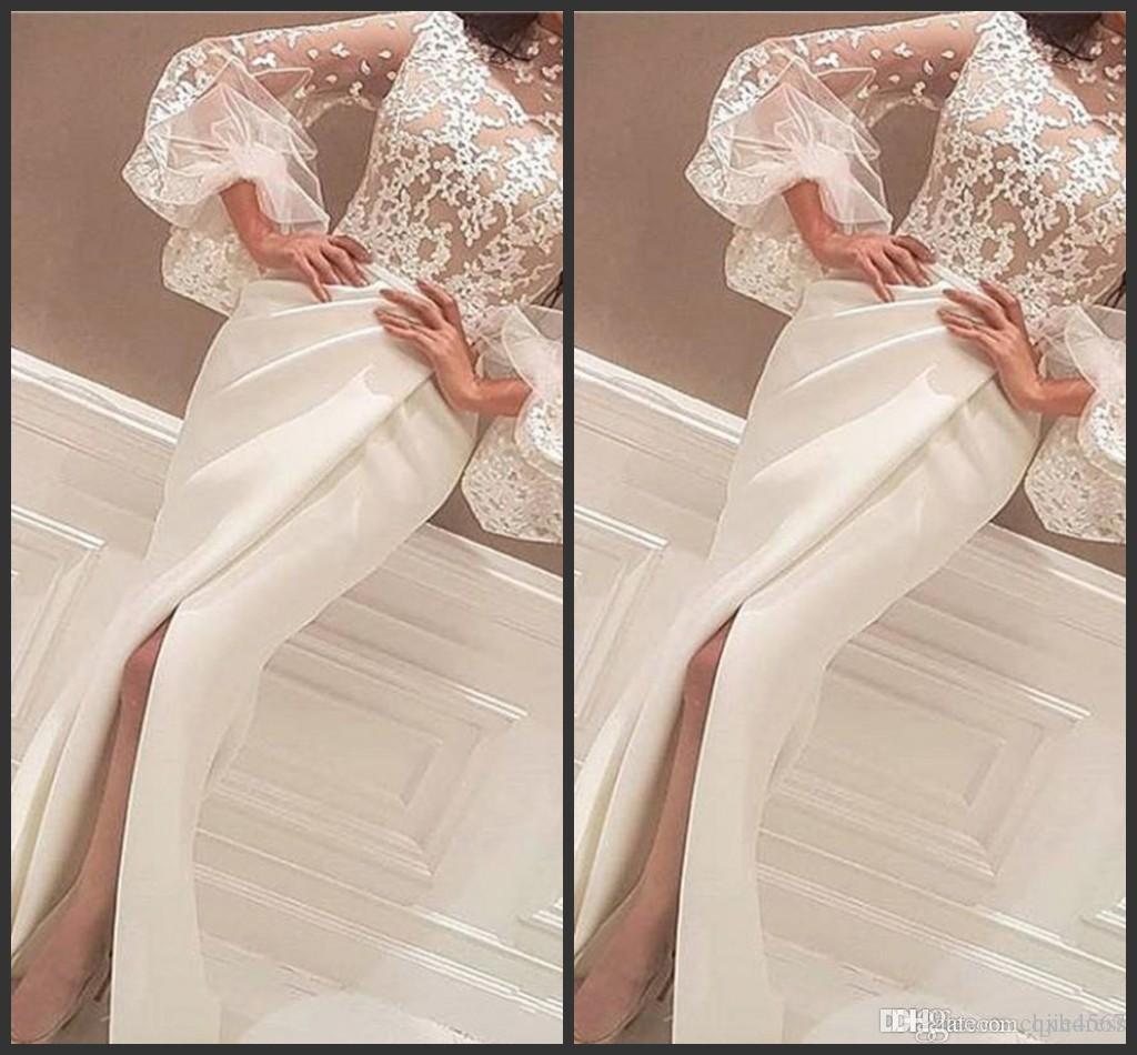 2019 Novos Vestidos de Noite Vestidos Até O Chão De Alta Pescoço Rendas Apliques Longo Manga Grande Sereia Lado Fenda Vestidos de Baile Branco Árabe 595