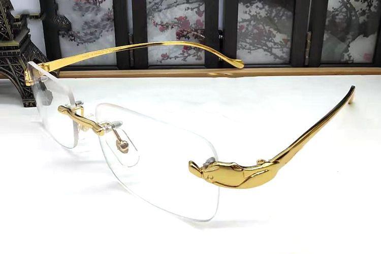 فرنسا العلامة التجارية الجاموس نظارات شمس رجل عادي النظارات مرآة الذهب الفهد إطار معدني عدسة واضحة الرجال البصرية النظارات الشمسية مع القضية الأصلية مربع
