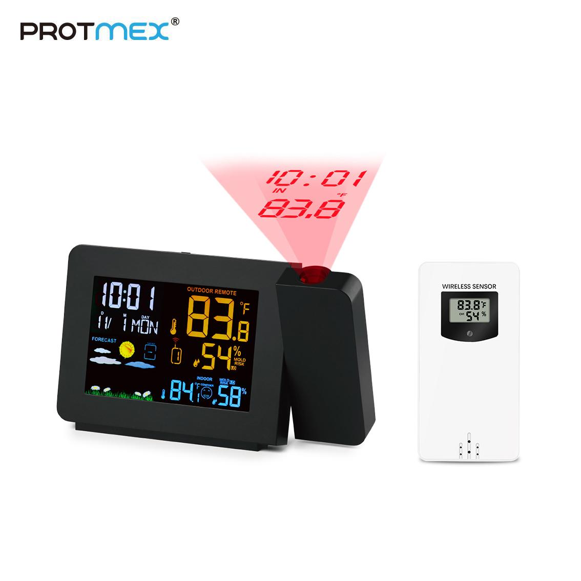 Time 180/°Projector Weather Forecast with Backlight LED Digital Double Alarm Clock Indoor//Outdoor Temperature Projection Alarm Clock