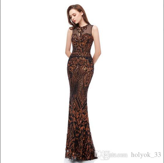 Chic Stylish Mermaid Black Brown Prom Dresses 2019 Jewel Neck Pattern Lace Sequins Applique Elegant African Arabic Long Formal Evening Gowns