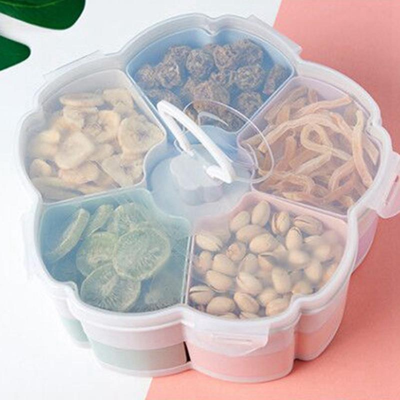 HHO-Petal-Shape Rotating Snack Box Candy Tray Food Storage Box Wedding Candy Plates Double-Deck Dried Fruit Organizer Storage