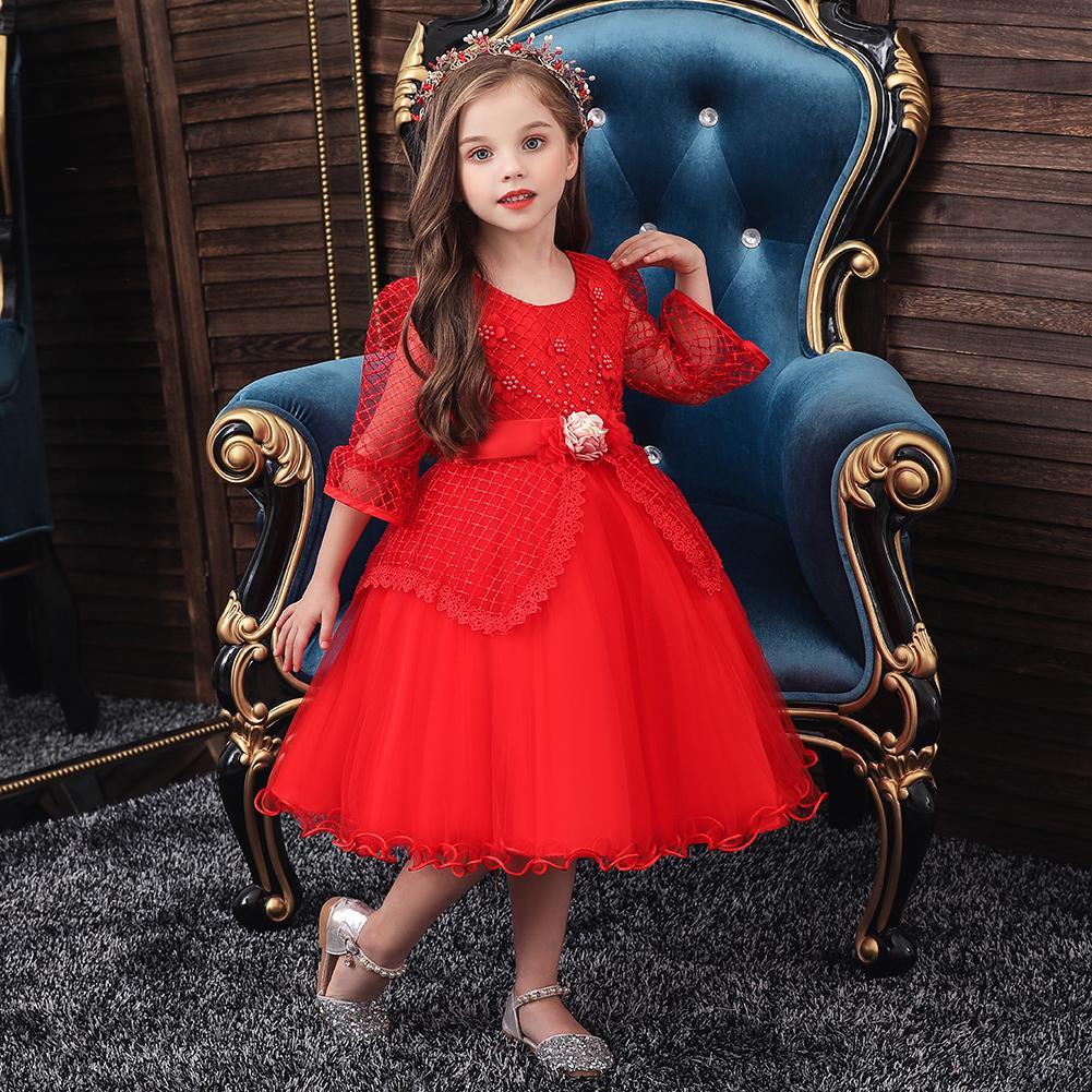 Golden shield Nuovo vestito dalla ragazza autunno e vestiti di prestazione mezza manica merletto del pannello esterno del vestito dalla principessa delle ragazze dei bambini di inverno vestito da spettacolo