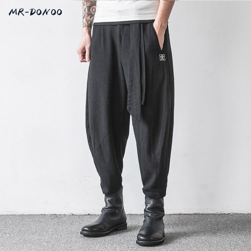 i pantaloni di lino uomini di stile di MRDONOO cinese grandi piedi pantaloni larghi a gamba larga pantaloni harem retrò pantaloni lunghi di lino cotone