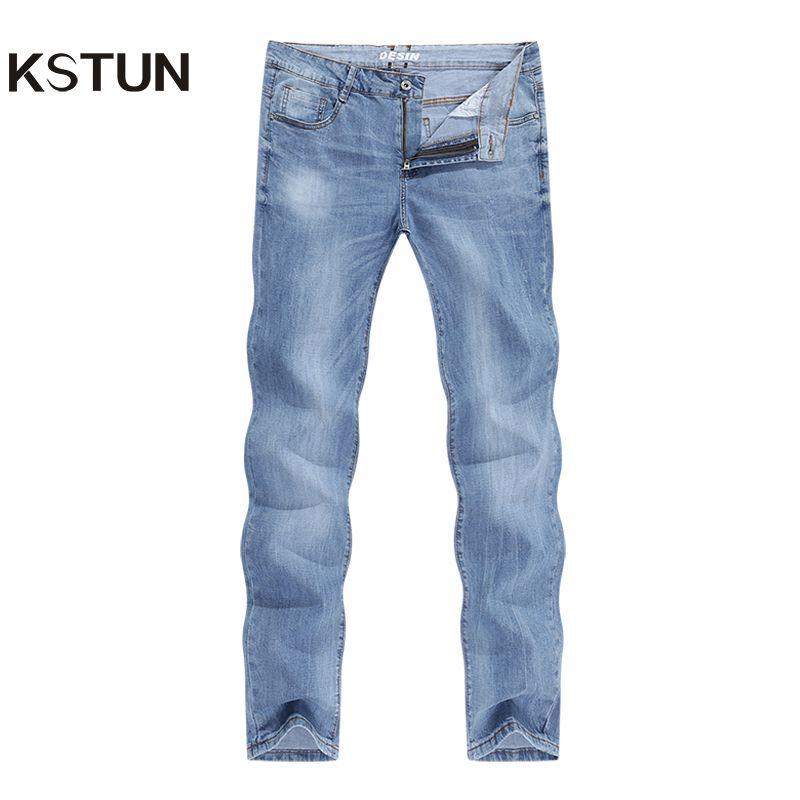2020 jeans moda maschile Affari diritti casuali dimagriscono ultrasottile respirabile denim stretch pantaloni blu chiaro estate Jeans Maschio