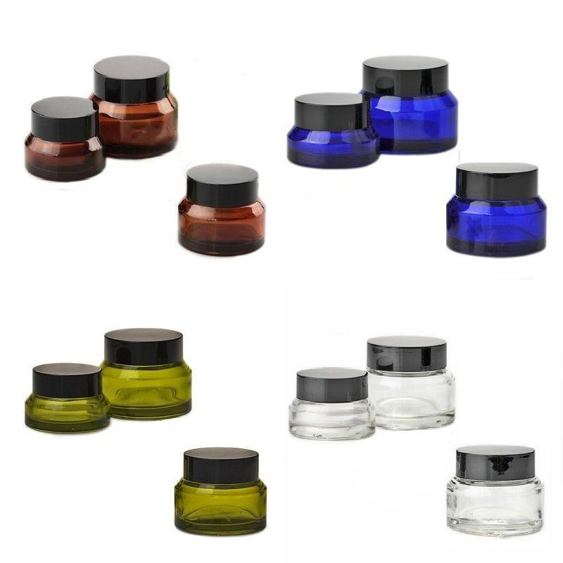Nuovi vasetti di crema di vetro di alta qualità Vasetti di cosmetici rotondi Vasetti di crema per il viso a mano 15g-30g-50g Vasetti con coperchio UV Coperchio PP interno