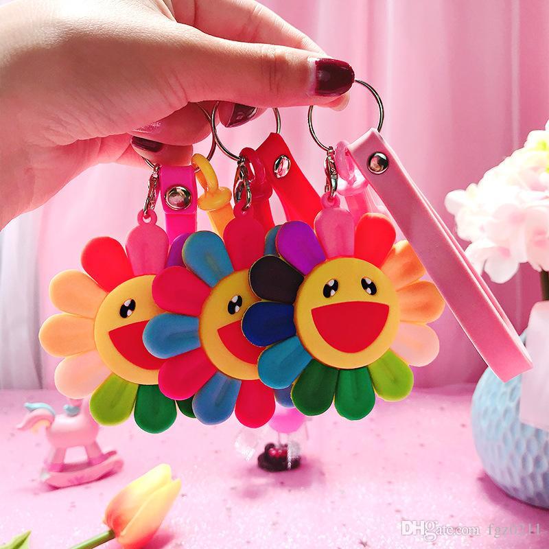 2019 Yeni Renkli Yumuşak Sunshine Gülümseme Anahtarlık Güneş Çiçek Anahtarlık Araba Ayçiçeği Anahtarlık Kolye Takı En Iyi Olay hediye 36541