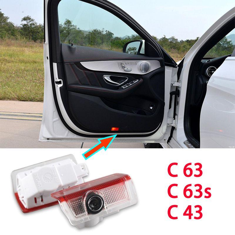 2x светодиодный автомобильный дверной свет для /// AMG C63 Coupe C63S C43 4Matic Cabriolet Mercedes Benz Logo Лазерный проектор Световые аксессуары