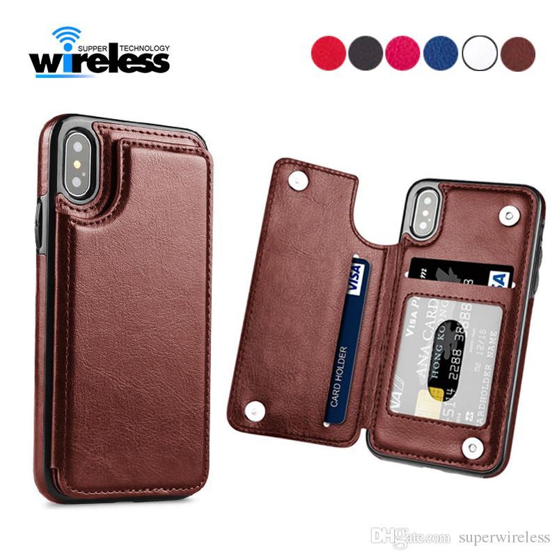 iPhone Para o caso X XR XS MAX 6s 7 8 Plus PU de couro da aleta de foto da carteira Titular tampa traseira para Samsung s10 S9