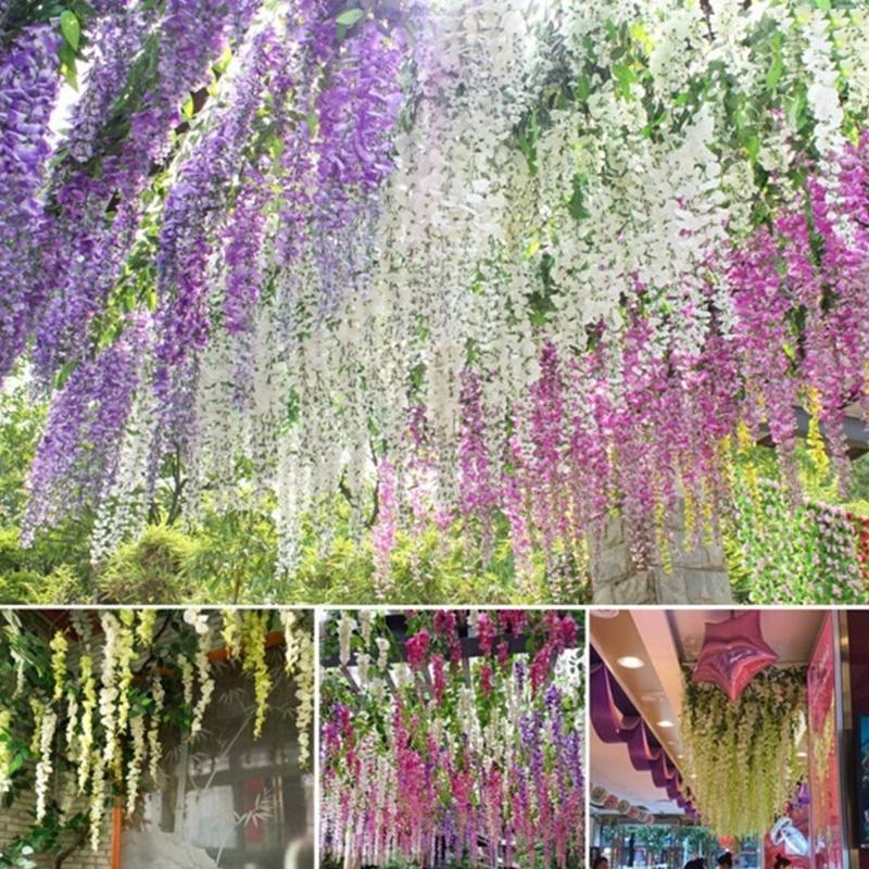 Home Fashion Artificial Hydrangea Party Romantic Wedding Decorative Silk Garlands Of Artificial Flowers Silk Wisteria DLH413