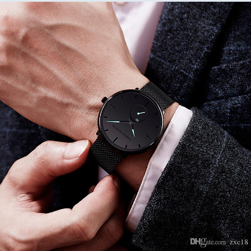 Vigilanza del quarzo del nuovo progettista Black Watch mano impermeabile della vigilanza di personalità degli uomini di modo di Student Popolare Adatto per varie occasioni