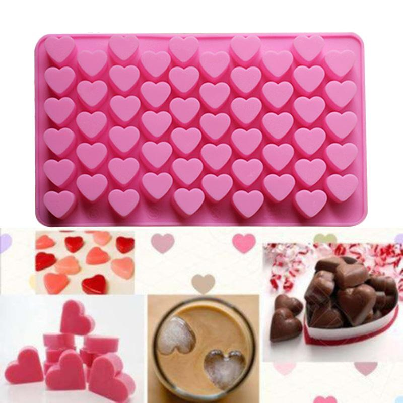 55 holes Mini heart silicone cake mold Chocolate Fondant Jelly Cookie Muffin ice mould Flexible moulds cupcake bake tools