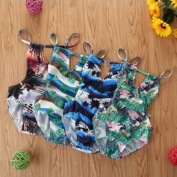 الاطفال ملابس اطفال بنات الزهور المطبوعة بيكيني واحدة قطعة أزياء الصيف الحمالة عارية الذراعين ملابس السباحة للأطفال لجام ثوب السباحة BYP712