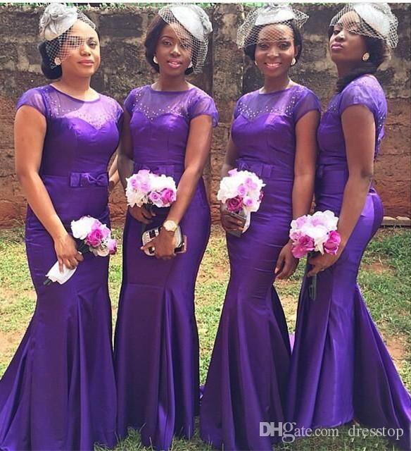 Popolare Viola Sirena abiti da damigella d'onore in rilievo maniche corte Maid of Honor Abito con fiocco pavimento lunghezza Wedding Party Dress Plus Size