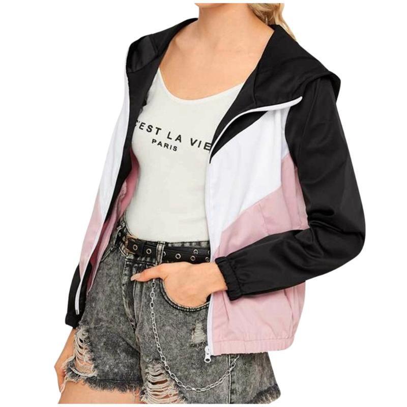 Escudo remiendo de manga larga casual de las mujeres chaqueta de primavera Moda mujer rompevientos chaqueta con capucha, chaqueta de la capa # 40%