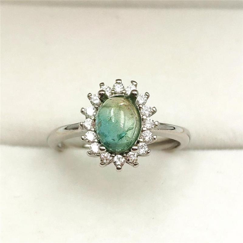 Echtes Natur-Grün Turmalin Wassermelone Crystal Clear Korn justierbares Frauen-Ring 9x7mm 925 Sterlingsilber-Ring