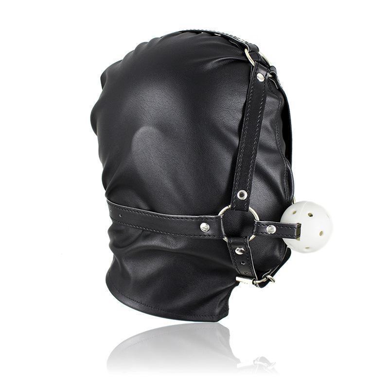 Koşum Gag Hood # R52 Sentetik Ağız Deri Esaret Gimp Sınırlamalar Maske MGHSE