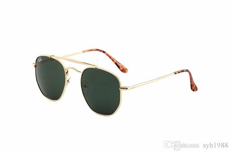 1PCS 패션 라운드 선글라스남성 여자의 더 나은 브라운 C를 들어 레이 밴 안경 태양 안경 디자인 블랙 메탈 프레임 다크 50mm 유리 렌즈