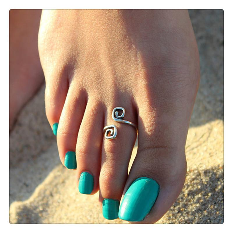 Women Beach Toe Ring Trendy Jewelry Retro Style Luck 8 Words Toe Ring Foot Ring Adjustable Opening Anklets