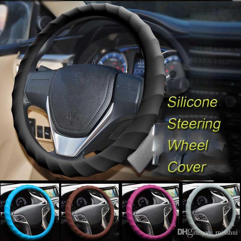 자동차 멀티 컬러 유니버셜 스킨 소프트 실리콘 스티어링 휠 커버 자동 실리콘 스티어링 휠 장갑 소프트 커버 자동 액세서리