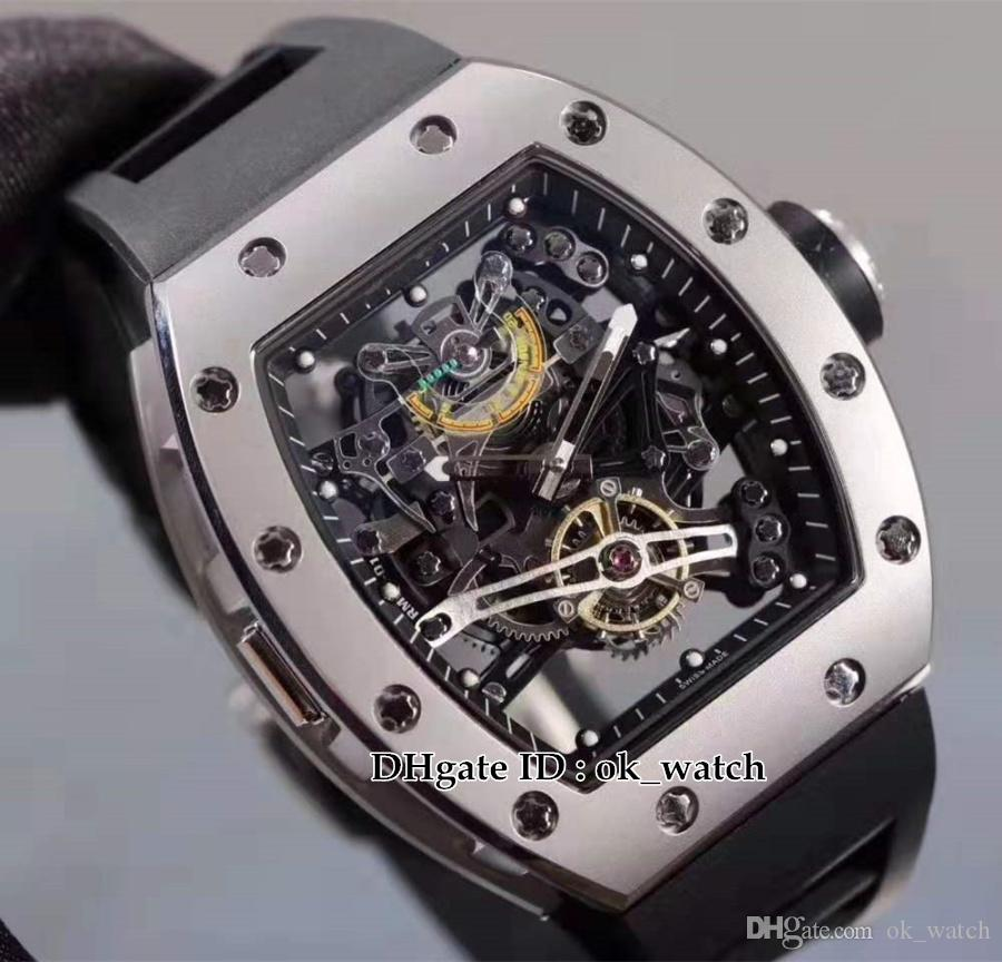 New R 38-01 Automatic Mens Watch Skeleton Hollow Dial Steel Case Barrel Shape Gents Best Sport Watches Black Rubber Strap