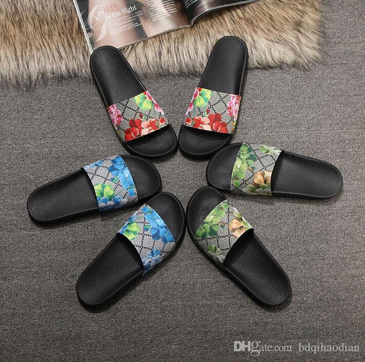 Männer Frauen Sandalen Designer-Schuhe Luxus Slide Summer Fashion Breitflach Slippery Sandalen Slipper Flip Flop Größe 35-45 Blumenkasten