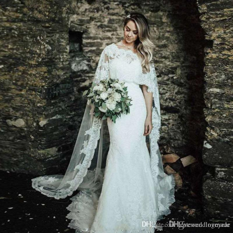Robes De Mariée Sexy Sirène Avec Cape Dentelle Appliques Robes De Mariée Chérie Dos Nu Pays Longue Robe De Mariée Robe De Mariee