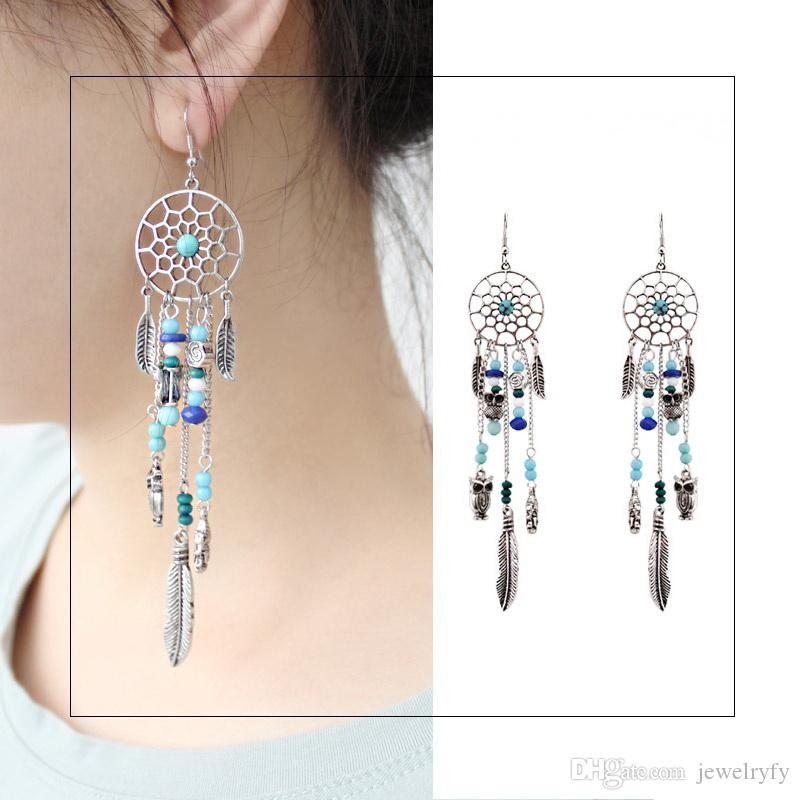 Fashion Long Tassel Earring Dream Catcher Style Drop Earrings Owl Feather Buddha Charms Coloured Acrylic Gemstone Beads Fringed Eardrop