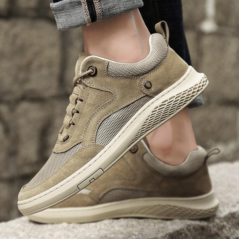 UOMO pattini di cuoio genuini 2020 Shoes Trend Primavera Low Top Sneakers suole molli mesh traspirante casuale Versatile scarpa Uomini Trendy