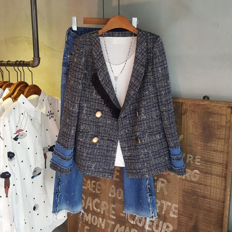 2019 осенью и зимой новый женский пиджак бахромой декоративной шить с длинным рукавом пиджак женский высококачественный офисный пиджак T190906