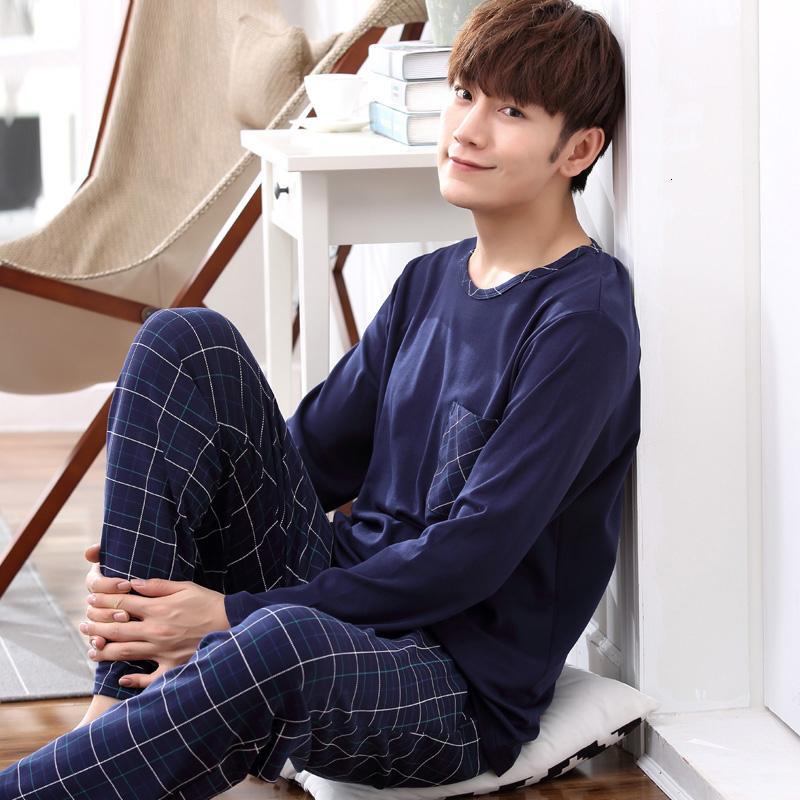 Yidanna pijama de algodão pijama conjunto de manga longa para homens roupas tamanho sono nightie ocasional sleepwear homens pijamas V191109 terno outono