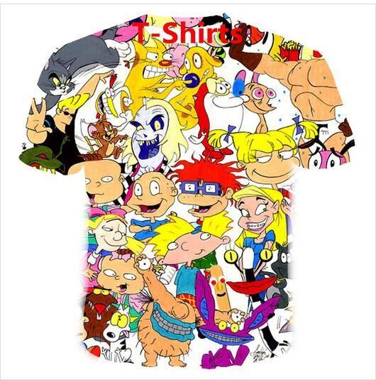 Neueste 3D-gedrucktes T-Shirt Cartoons Collage 80er Short Hülsen-Sommer-beiläufige Oberseiten-T-Shirts Art und Weise O-Ansatz T-Shirt Männlich DX010