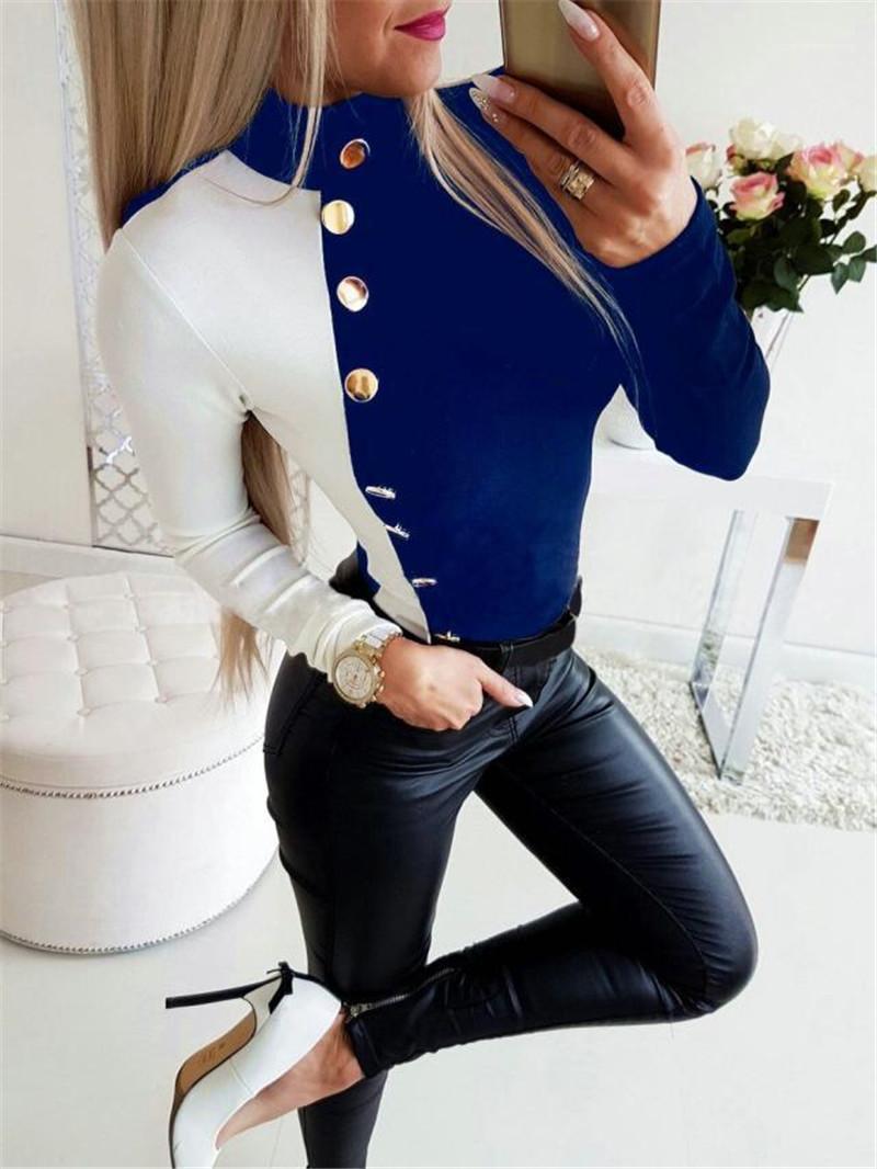 Mosaico de color a juego con mangas larga con cuello redondo de las señoras de las camisetas de manera femenino de camisetas para mujer de las camisetas del club diseñador delgado atractivo