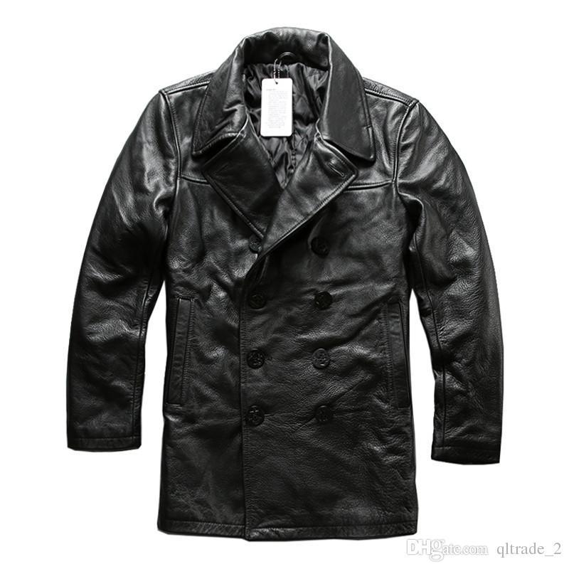 2019 AVIREXFLY iş deri ceketler kruvaze inek ile hakiki deri rahat aşağı ceketler