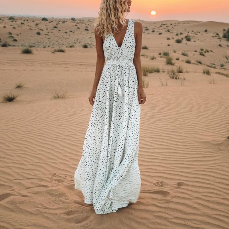 Polka Dot vestido sin mangas de mujer Boho Maxi vestido blanco vestido suelto en el suelo Vintage Beach vestidos con cuello en V Fiesta de verano sexy Vestido