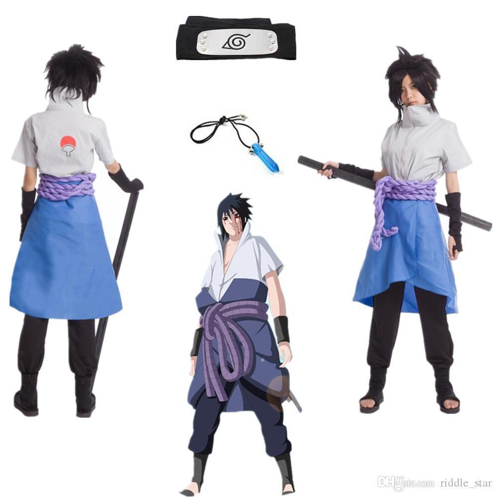 Asya Boyut Japonya Anime Hokage Naruto Uchiha Sasuke 4 Cosplay Kostüm Unisex Cadılar Bayramı Cloak Üniforma Tam Set