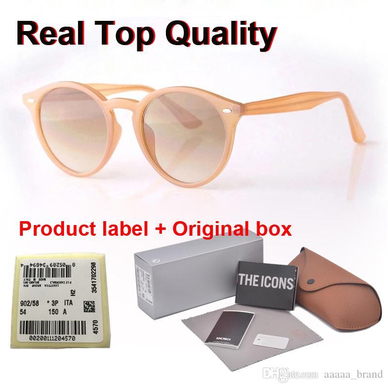 Yeni Arrial güneş gözlüğü kadın erkek Yuvarlak tahta çerçeve Metal menteşe cam mercek Retro Vintage güneş kutusu ve davaları Goggle gözlük