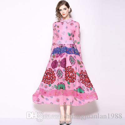 2019 Spring Fashion Week show lace dress Doll collar mid-waist print long-sleeved dress High-end design big-name women's clothing