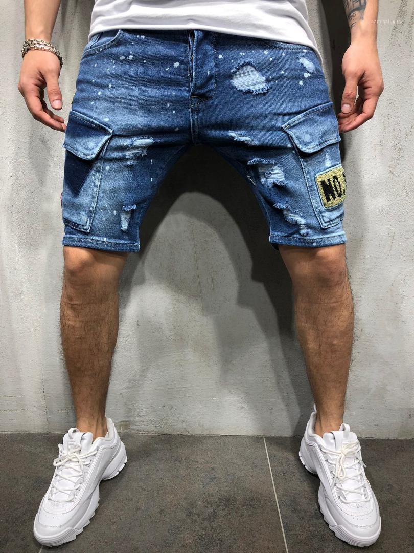 Zipper Jean joelho comprimento das calças dos homens Moda Jeans Calças Verão Lavados homens Short Jeans Azul Designer Buracos emblema