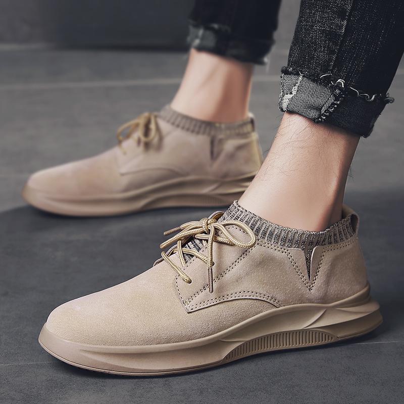 Mode Low Top Breathable beiläufige Suede Schuh-Männer der koreanischen stilvollen Qualitäts-Leder-Mann-Schuhe Männlich Loafers