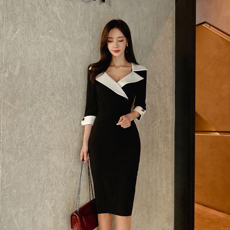 Robe Mode Femmes Printemps Dresse Casual Office Lady élégante affaires moulante porter au travail Robe Vêtements Vestidos