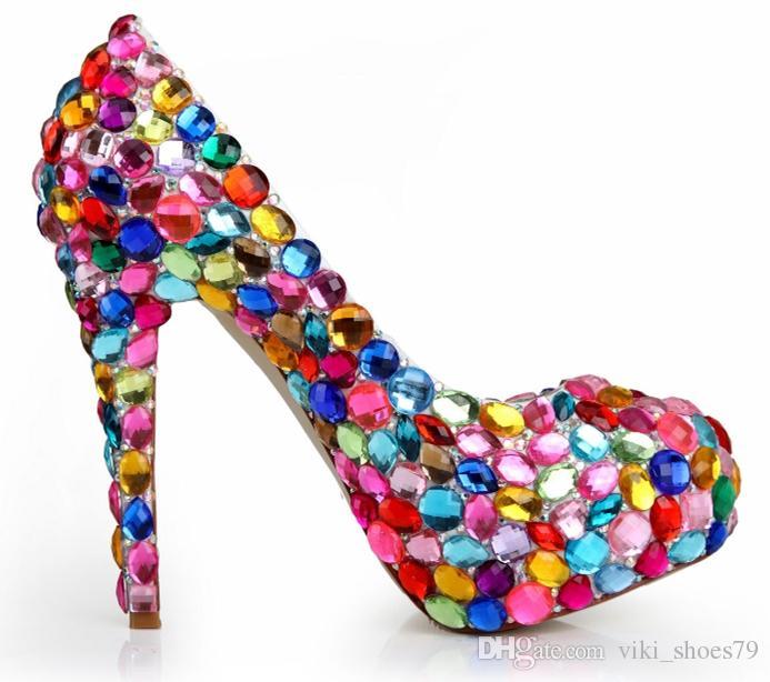 Echtes Leder Luxus rhineston Dame Formal Schuh-Frauen-Plattform Heel Braut Hochzeit Abschlussball-Partei-Abend-Kleid-Schuh-Brautjungfer Schuhe