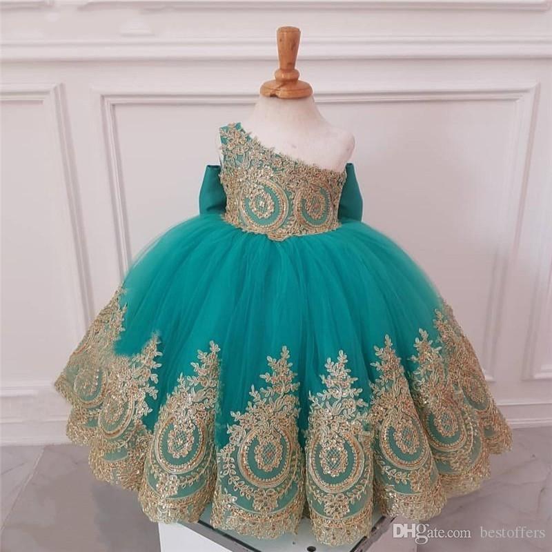 귀여운 청록색 블루 어깨 꽃 소녀 드레스 웨딩 골드 레이스 볼 가운 아이 이브닝 가운 여자 첫 영성체 드레스