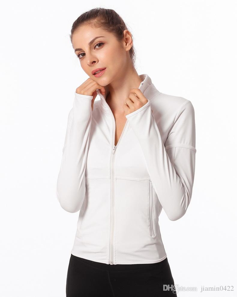 Women Fitness Yoga Running Jackets Activewear Gym Training Clothing Athletic Long Sleeve Running Top with Thumb Holes