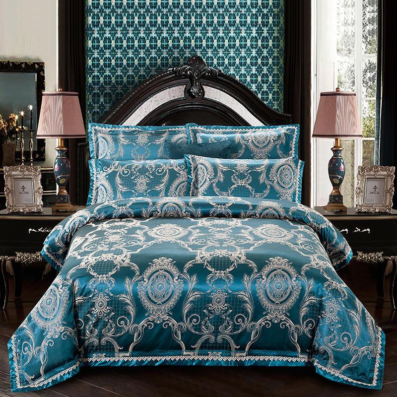 الحرير الجاكار مجموعة الفراش سرير نمط غطاء سرير تعيين حجم الأزرق سلسلة غطاء لحاف وسادات الملكة الملك