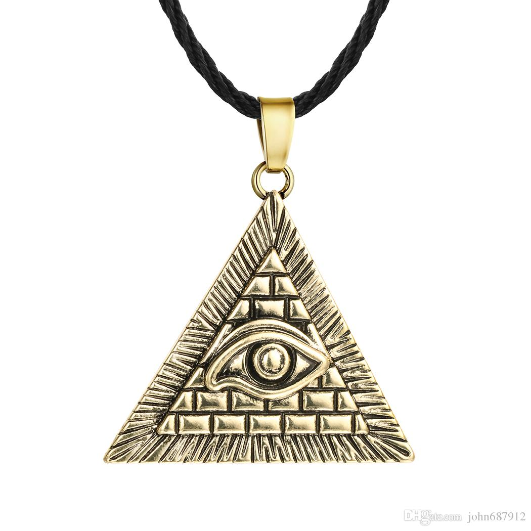 Gioielli Huilin Ancient Egyptian Pyramid Collana Eye Of Horus Pendant Collana Hip Hop Illuminati per uomo e donna