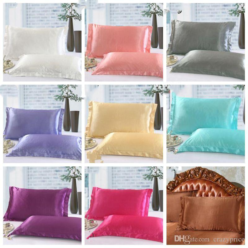 Funda de almohada de Navidad del color sólido de seda fundas de almohada doble cara de alta calidad de Charmeuse del satén de seda cubierta de almohadas de cama Suministros YSY210-L