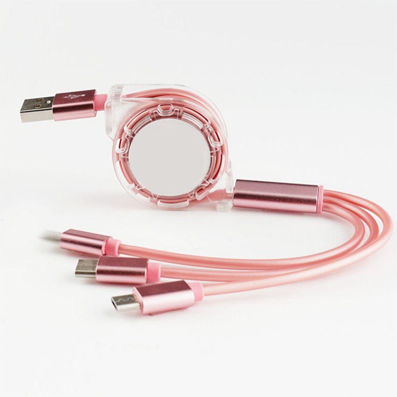 Rápido cabo de carregamento 3 USB Magnetic em 1 1M 1.5M 1 ligação 3 telescópica Linha de Dados Carregador Geral Micro Cable