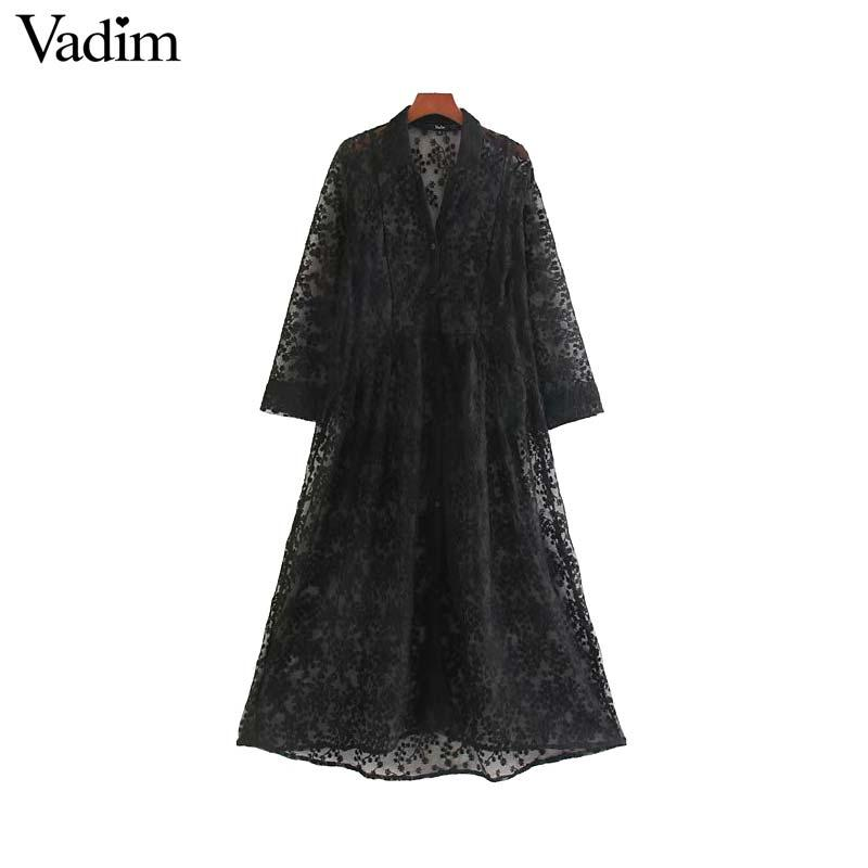 Vadim women embroidery hollow out midi dress long sleeve see through female casual elegant straight dresses chic vestidos QC916